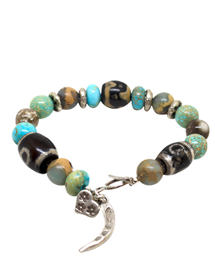 Vintage gemstone and silver bracelet