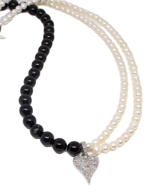 Diamond, onyx, pearl and silver necklace