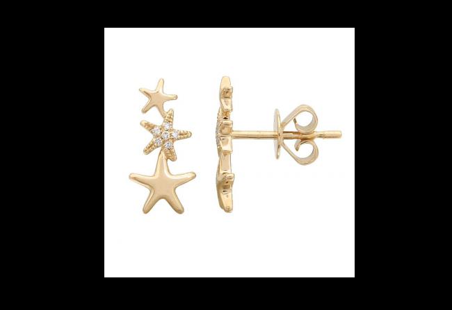 Diamond-Triple-Star-yellow-Gold-Studs