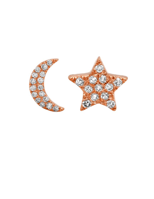Diamond Moon and Star Studs $235
