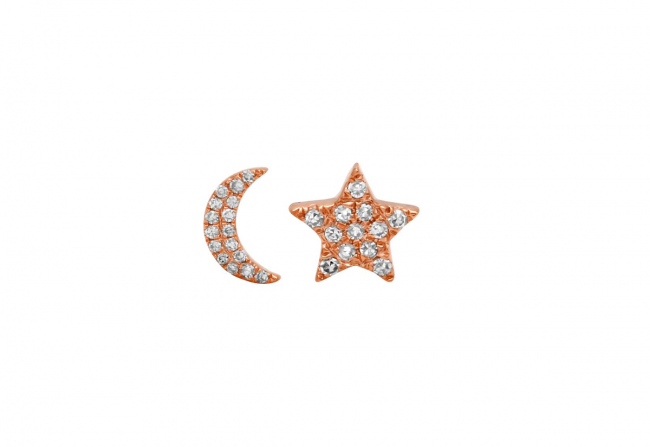Moon-and-Star-Diamond-Studs-Rose-Gold-Gifted-Unique