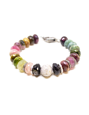 Rainbow tourmaline and diamond bracelet