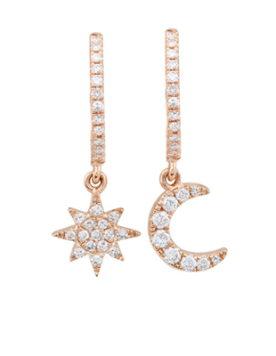 Sunburst and Moon Drop Diamond Huggies $425