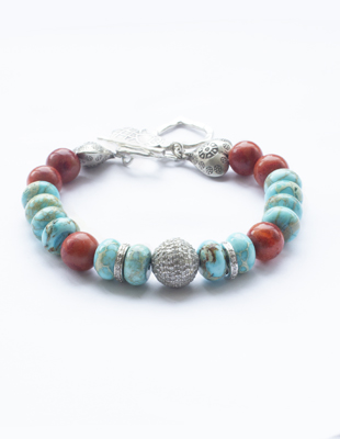 Coral, turquoise and diamond bracelet
