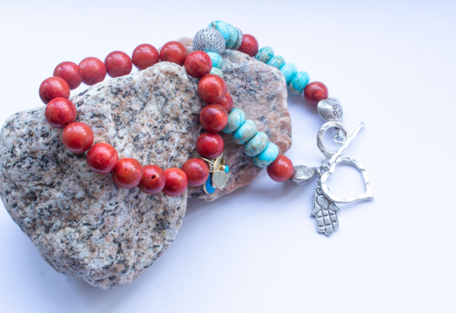 Coral Turquoise and Diamond Bracelet