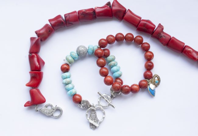 Coral-Necklace-with-DIamond-Lobster-Clasp